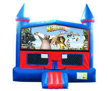 Madagascar Bounce House with Basketball Goal