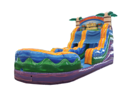 A 16' Tiki Plunge Water Slide With Pool