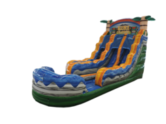 18' Tiki Plunge Double Lane Water Slide With Pool