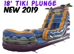 18' Tiki Plunge Single Lane Water Slide With Pool