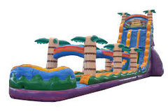A 27' Tiki Plunge Double Lane Water Slide With Pool