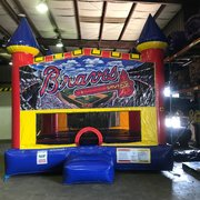 Atlanta Braves Bounce House With Basketball Goal