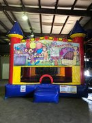 Carnival Bounce House With Basketball Goal