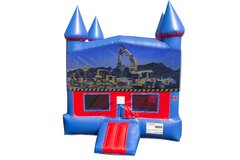 Construction Bounce House with Basketball Goal