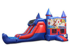 Curious George 7' Double Lane Dry Slide Bounce House Combo