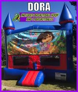 Dora The Explorer Bounce House with Basketball Goal