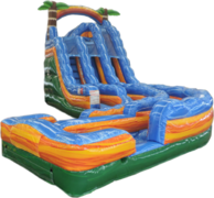 Dual Lane 18'/16' Tropical Thunder Water Slide