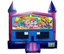 Happy Birthday Kids Fun Jump (Pink) with Basketball Goal