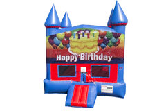 Happy Birthday Cake Bounce House with Basketball Goal