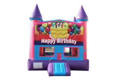 Happy Birthday Cake Fun Jump With Basketball Goal (Pink)