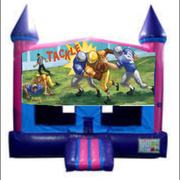 Football Bounce House (Pink) with Basketball Goal