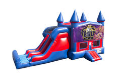 LSU Tigers 7' Double Lane Dry Slide With Bounce House