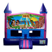 Hawaiian Luau Bounce House (Pink) with Basketball Goal