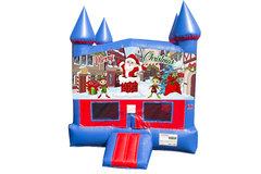 Merry Christmas Bounce House with Basketball Goal