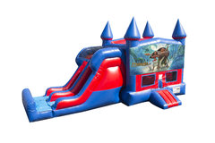 Moana 7' Double Lane Dry Slide With Bounce House