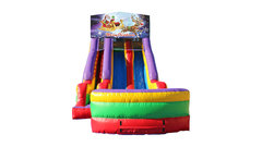 Santa and Rudolph 18' Double Lane Dry Slide