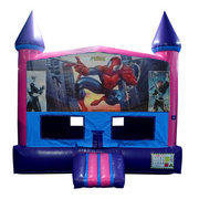 Spider-Man Bounce House (Pink) with Basketball Goal
