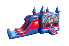 Unicorn 7' Double Lane Dry Slide With Bounce House