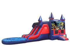 Batman 7' Double Lane Water Slide With Bounce House