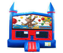 Curious George Birthday Bounce House With Basketball Goal