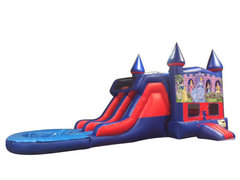 All Disney Princesses 7' Double Lane Water Slide with Bounce House