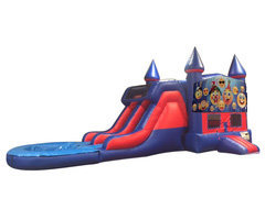 Emoji 7' Double Lane Water Slide With Bounce House
