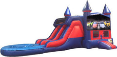 Lamborghini 7' Double Lane Water Slide With Bounce House