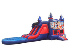 Mickey's Fun Factory 7' Double Lane Water Slide With Bounce House