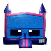 A Purple and Pink Castle Bounce House with Basketball Goal