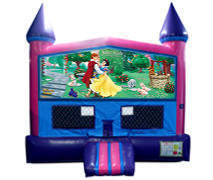 Snow White Bounce House (Pink) with Basketball Goal