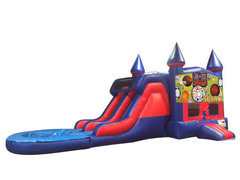Sports USA 7' Double Lane Water Slide With Bounce House