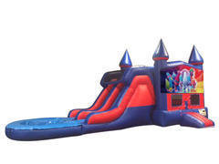 Trolls 7' Double Lane Water Slide With Bounce House