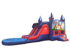 Unicorn 7' Double Lane Water Slide With Bounce House
