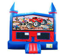 Monster Truck Bounce House with Basketball Goal
