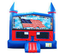 United We Stand Bounce House with Basketball Goal