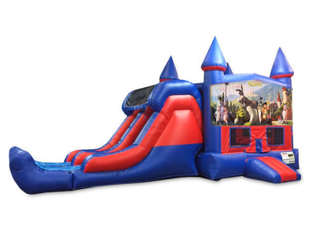 Shrek 7' Double Lane Dry Slide With Bounce House