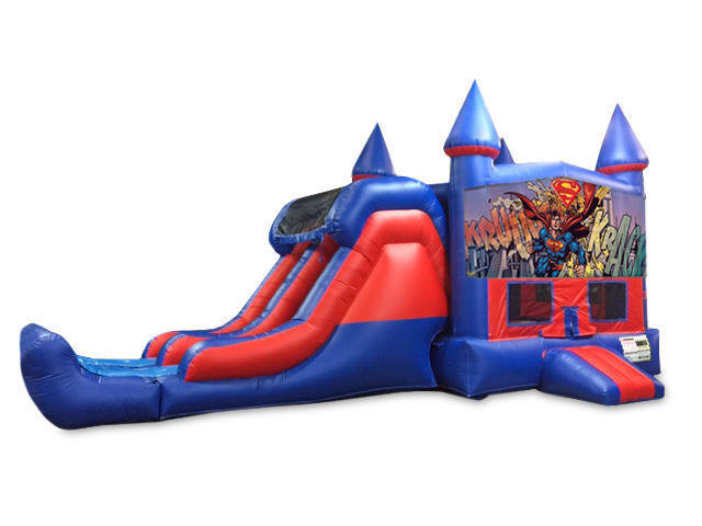 Superman 7' Double Lane Dry Slide With Bounce House