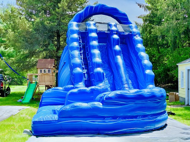 20ft Ocean Blue Curvy Dual Lane Water Slide