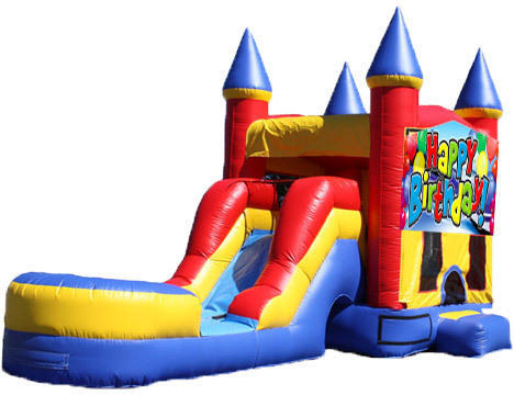 5-in-1 Castle Combo with Slide (Wet) - Birthday Cake