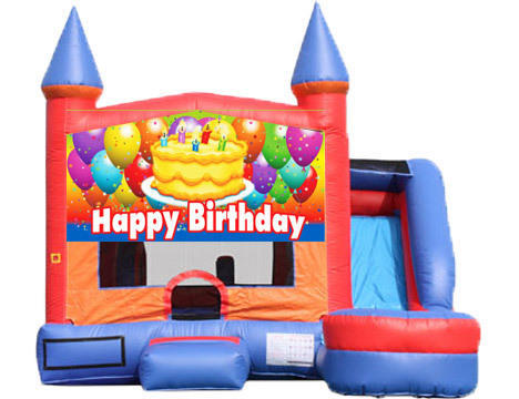 6-in-1 Castle Combo with Slide (Wet) - Birthday Cake