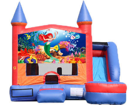 6-in-1 Castle Combo with Slide (Wet) - Little Mermaid