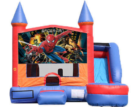 6-in-1 Castle Combo with Slide (Wet) - Spiderman