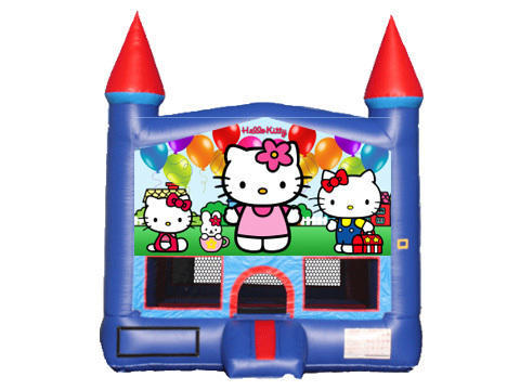 Blue & Red Castle Bounce House - Hello Kitty