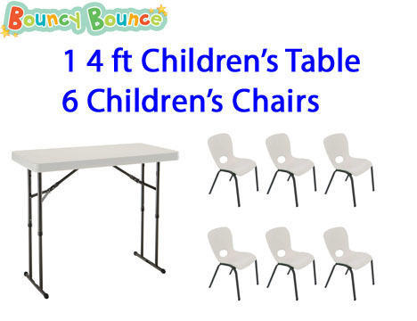 Package: 1 4ft Adjustable Height Table & 6 Childrens Chairs