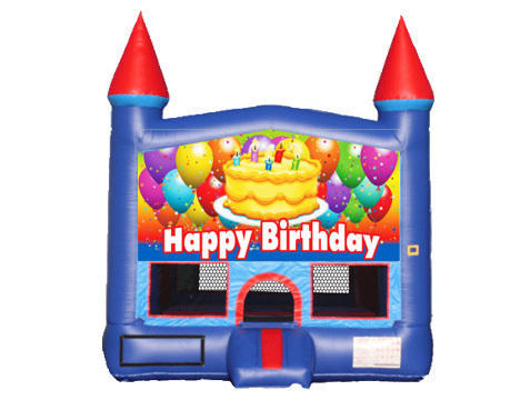 Blue & Red Castle Bounce House - Birthday Cake
