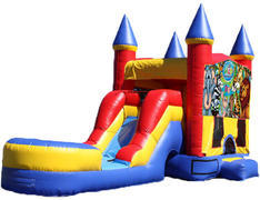 5-in-1 Castle Combo with Slide (Wet) - Wild Kingdom