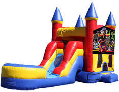 5-in-1 Castle Combo with Slide (Wet) - Race Cars