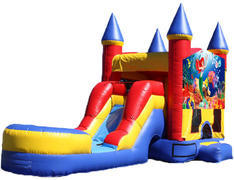 5-in-1 Castle Combo with Slide (Wet) - Little Mermaid