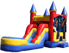 5-in-1 Castle Combo with Slide (Wet) - Superheroes