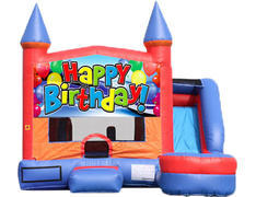 6-in-1 Castle Combo with Slide (Wet) - Happy Birthday